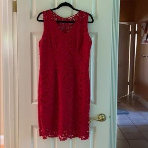 T Tahari red lace dress